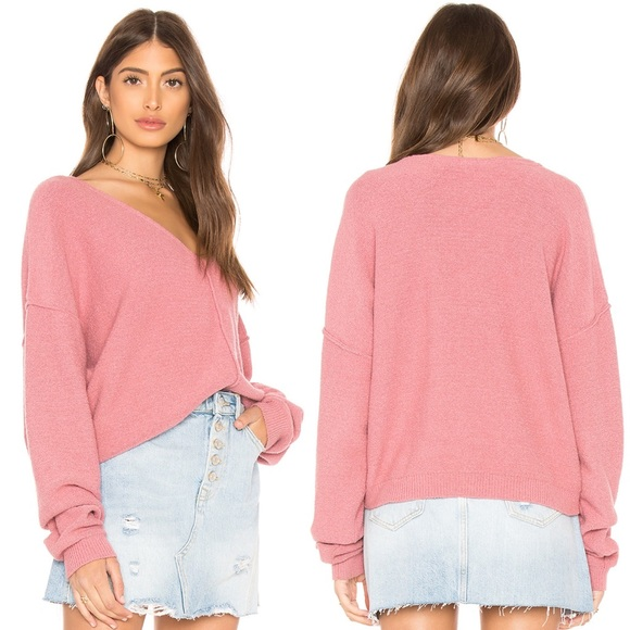 Free People Take Me Places Pink Pullover Sweater S